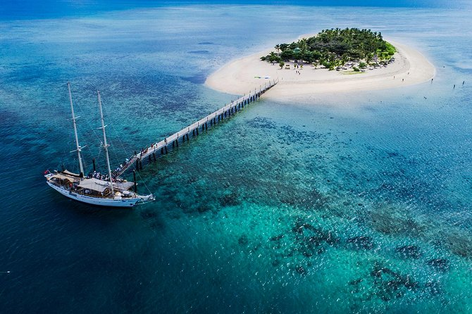 Set sail by tall ship to pristine Tivua Island, offering all the attractions of a small Fijian tropical island. This 7-hour experience includes hotel pick up and drop off from Nadi and Denarau Resorts, 1.25hr tall ship sail each way, 4 hours on the island, a Marine Biologist guided snorkeling tour and glass-bottom boat tour, use of canoes, SUPS, shade bures, Kava ceremony, volleyball, morning and afternoon tea, music and entertainment and a tropical buffet luncheon including a selection of beers, wines and soft drinks on the island. PADI Diving, massage and drinks from the bar on the boat are extra.