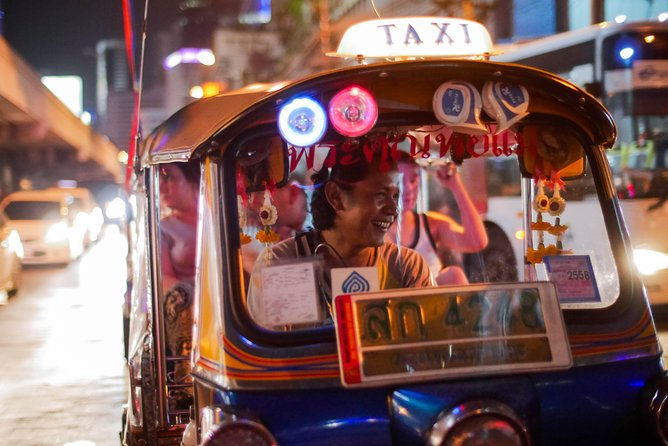 Choose from two departure times when you book. Your 4-hour Bangkok midnight food tour by tuk tuk will take you off the beaten path for an amazing midnight eating and sightseeing adventure. After sunset, your driver/guide will take you through Bangkok's streets in a 3-wheel tuk tuk to visit Bangkokian's favorite places to eat around the clock. Taste a variety of savory dishes, including the town's best Pad Thai and the best kept secret, charcoal fried noodle. Between food-tastings and a chilled Thai beer, your small-group will visit old-town Bangkok landmarks and temples for a different perspective compared to the busy day time scene. Your tuk tuk will return you to your accommodation when your tour concludes.