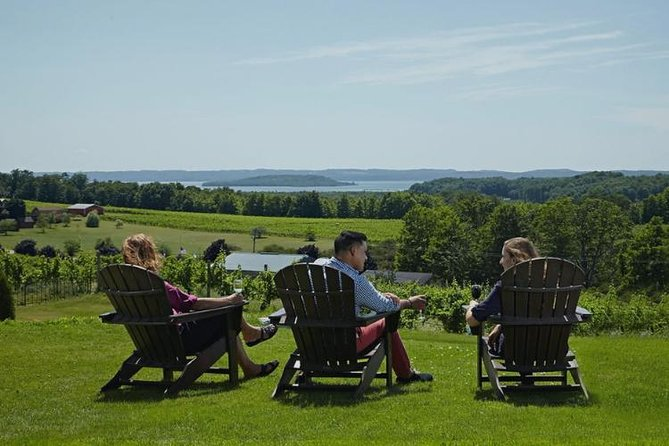 TOURS DEPART AT 12PM SUNDAY-FRIDAY & 11AM ON SATURDAY<br><br>Sit back and enjoy the gentle slopes, winding country roads and Caribbean-like views on a Traverse City Wine Tour. The Magic Shuttle Bus is a chauffeur service with an entire fleet ready to take your group around Old Mission Peninsula.<br><br>The 45th parallel, is home to the worlds most famous wine-making regions AND Traverse City. Grape vines planted in the region enjoy the perfect amount of sunlight for optimal growth. When coupled with micro-climates created by Grand Traverse Bay, and fertile soil, this sets the perfect stage for delicious award-winning wines that rival centuries old grapes produced in Europe & California.<br><br>*DISCLAIMER: While most of our tours are full; If we have only 4 or fewer guests booked for a tour, we will change to a 4 hour tour and skip the last Winery/Vineyard.<br><br>DISCLAIMER: Wineries are subject to change based on availability. <br><br>*GRATUITY of 15%-20% for the driver is strongly recommended<br>