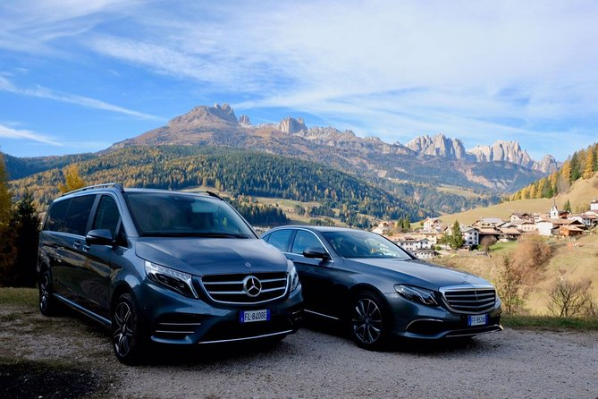 Private transfer from hotels in Val badia areaand surroundings to Venice<br><br>we will meet you at hotel or apartment or chaletin Alta Badia including Corvara, Colfosco, La Villa and San CassianoOr surroundingsand we will take you straight to Venice VCE airport or Piazzale Roma or Venezia Mestre train station<br><br>we will provide luxury transportation by Mercedes class V or Mercedes class e or Mercedes suv or Range Rover<br><br>please contact us for customized itineraries or other requests <br><br>the drop off can bepiazzale roma or Venezia Mestre train station <br><br>the drop off can be even atSanta Lucia train station with an extra charge for the porterage ( about 10 min walk to the car park)