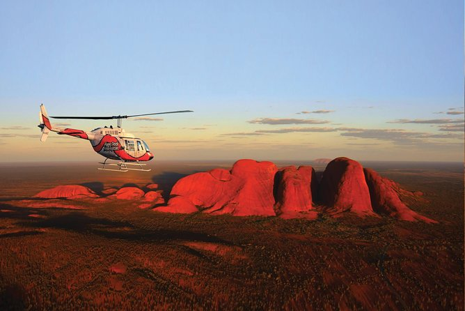 36min Helicopter Flight: Uluru & Kata Tjuta<br><br>Birdseye view of the Ayers Rock National Park its heritage listed rock features with informative and entertaining commentary. A unique and breathtaking experience with views beyond words. A rich in culture and purely fascinating landscape often not accessible by land - nothing short of spectacular with an extension around the back of Kata Tjuta to capture that ultimate photo of Kata Tjuta with Uluru as your backdrop!