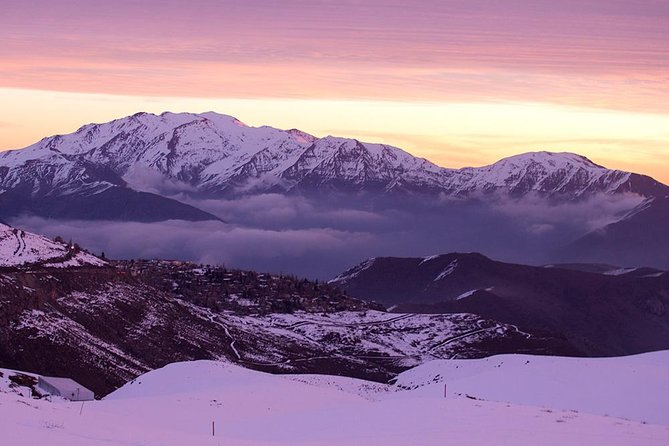 Discover the Andes Mountains in a half-day private tour around the ski resorts nearby Santiago, where you'll have a Wine&Cheese tasting while enjoying grandiose panoramic views.<br><br>Three stops were carefully selected in order to maximize your appreciation of the Andes. <br><br>The experience begins in your hotel where your guide will pick you up to then head towards the mountain by the road that connects the city with the main Ski Resorts. Among the main attractions you will appreciate La Paloma Glacier, one of the largest ice bodies of central Chile. You'll reach 9842,52ft a.s.l. when when you get to Valle Nevado S.Resort -with bathroom and souvenir facilities-, and from a lookout you will observe Plomo mount. wich reaches an altitud of 17.795,28ft. Last stop will be at the Condor´s Lookout; a huge and secure cliff from where you will have a delicious W&Ch tasting while you will enjoy the views with the possibility to meet the majestic condor, which often elegantly glides by the area.
