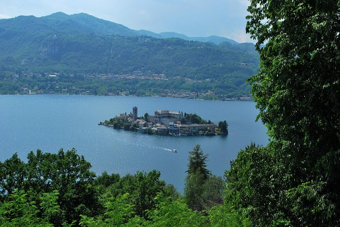 The romantic village of Orta San Giulio with a tour guide, Lago Mayor, ITALY