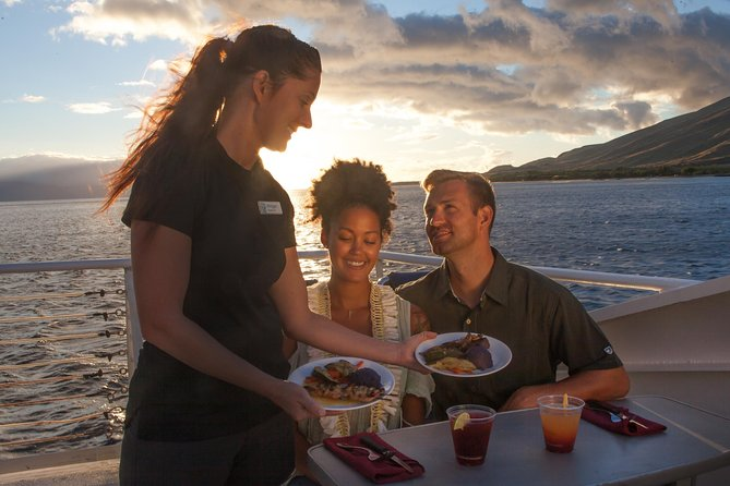 For a uniquely Maui dining experience, join the sunset dinner cruise, where you'll enjoy exquisite dining while surrounded by spell-binding views of the Pacific and the islands of Maui, Moloka'i, Lana'i and Kaho'olawe during the golden hours of sunset. <br><br>This relaxing and romantic dinner cruise departs from historic Lahaina Harbor on a smooth-riding double-deck catamaran. All guests enjoy guaranteed outdoor seating on the bow or upper deck. Your four-course dinner is professionally prepared using Hawaii's freshest, locally grown salad greens, vegetables, fruits and herbs.