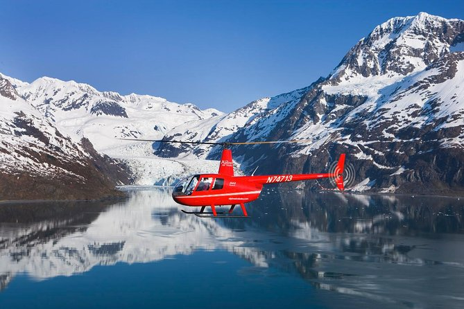 Enjoy aerial views of blue ice-fields and hanging glaciers as you glide past the rugged peaks of the Chugach mountians. During your tour, your pilot will land on a glacier and you will have the once-in-a-lifetime chance to step out and explore the ancient ice. This 90-minute tour includes an extended return flight over the majestic waters of Prince William Sound, where you'll see a spectacular 400-foot-tall tide-water glacier and look for seals and otters in the blue fjords. Don't forget your camera - this trip is a photographer's dream.
