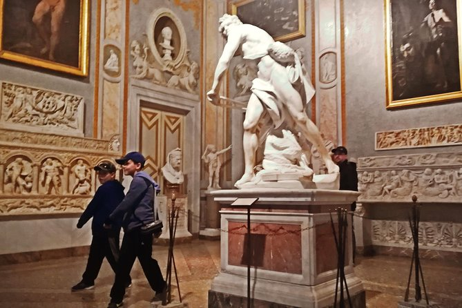 This 2-hour exclusive <br><br>Private Borghese Gallery Museum Ancient Myths & Arts Family Tour will allow you to explore one of the most charming museums in Europe with a top-rated kid-friendly guide. <br><br> You will experience the considerable <br><br>impact of masterpieces by Caravaggio, Raphael, Bernini, Canova, Titian and other famous artists. <br><br> Their artwork tells <br><br>amazing stories <br><br>of ancient myths, like Hades and Persephone, Apollo and Daphne, Zeus and Artemis, the fall of Troy, Hercules and his adventures and many other legends. <br><br> All your family will have fun playing games and engaging in <br><br>tailored activities while learning about history and art thanks to your local guide Alessandra! <br><br> Please note that the Gallery gets fully booked very quickly and we advise you to book the tour a few weeks in advance.