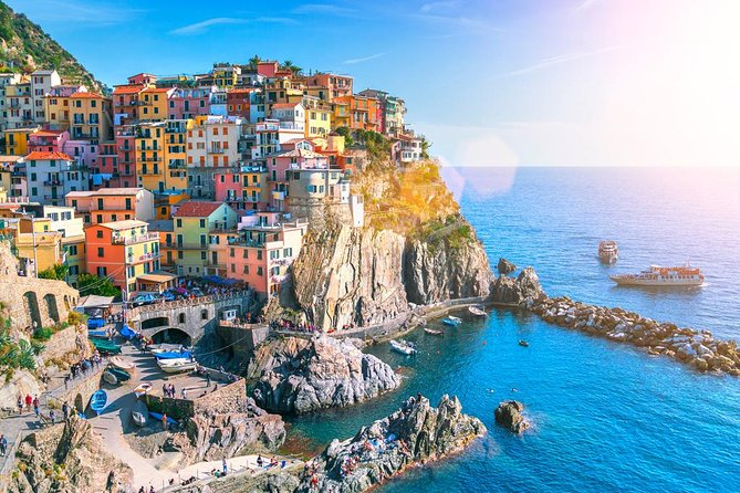 Explore the breathtaking Ligurian coast on a tour of Cinque Terre, a small corner of paradise subdivided into five villages suspended on steep cliffs overlooking the sea; a unique landscape, where vegetation and lush vineyards frame a spectacular scenery. Visit four of the five villages.