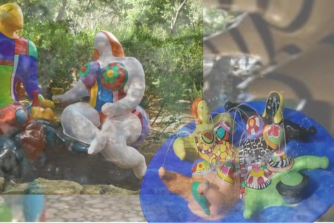 """A """"meeting place between art and nature"""", monumental sculptures and mosaic by French-born artist Niki de Saint Phalle on inspiration of Barcelona Güell Park of Catalan architect Antoni Gaudì."""