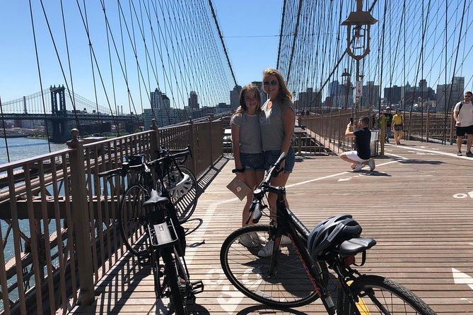 "Take an unforgettable bike ride across two New York City bridges. Starting in DUMBO, Brooklyn, this bike tour rides along the Manhattan Bridge into China Town then along the East River with stops in South Port Sea Port. This tour introduces you to City Hall Park in Lower Manhattan, and makes the ""must-do-once-in-a-lifetime"" trip across the Brooklyn Bridge into downtown Brooklyn into the first historically preserved area of the United States, Brooklyn Heights. This tour takes you along the Brooklyn Bridge Park Waterfront and ends in one of the fasted growing parts Brooklyn with sweeping views of the East River, The Manhattan Bridge, and the Brooklyn Bridge above.. There are great dining options and shopping post ride. One of the most exciting tours offered in NYC."