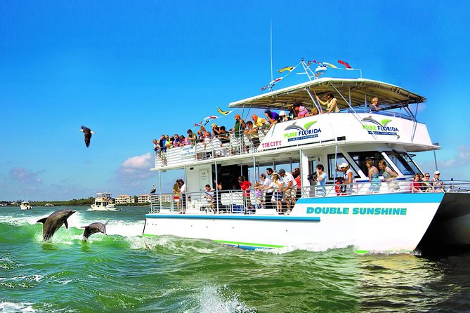 Experience the beauty of Naples, Florida while cruising on the iconic Double Sunshine. This 90-minute sightseeing cruise takes you from historic Tin City Waterside Shopsout to the Gulf of Mexico. Along the way you will see southwest Florida wildlife, Keewaydin Island, enjoy historical narration provided by our Pure Florida Captains and see some of the most beautiful mansionsin Port Royal, an incredibly exclusive neighborhood home to well-known millionaires. Guests love easily moving throughout the boat to get the best view, unique photoopportunities andrelaxing on the water.<br><br>All passengers 15 years old and under must be accompanied by a guardian.<br><br> Highlights:<br><br> 90 minute Sightseeing Cruise<br><br> Wildlife including but not limited to Dolphins,variety ofbirds, manatees (seasonal)<br><br> Beautiful Keewaydin Island<br><br>Gulf of Mexico views<br><br> Port Royal Mansions<br><br> Interesting and enjoyable historic commentary
