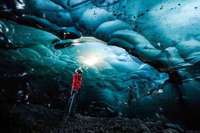 Experience this exciting hiking and ice caving adventure of theVatnajökull Glacier in Skaftafell National Park! As you arrive at the park, you will meet yourprofessional glacier guide who will lead the way to some of Vatnajökull Glacier's spectacular ice caves and tell you all there is to know about the area. This tour includes hiking for approximately 3 hours up on the glacier visiting multiple, relatively small ice caves along the way. You will be provided with crampons for walking on the ice as well as helmets and ice axes. Waterproof clothing and hiking boots are available for rent but it is highly recommend that you bring these items with you on the tour, also food and drinks are not included.