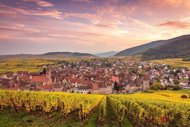 """The beauty of the Alsace and its four wonders will be shared with you on this Private Tour. Your guide will also be the driver of the air-conditioned minivan that will pick you up in Colmar at 9am for this 8-hours tour. Along the wine route and the beautiful vineyards, you will discover such picturesque and visit the """"4 wonders of the Alsace"""" villages of Eguisheim, Kayserberg, Ribeauvillé, and Riquewihr, which are all very colorful and unique. Passing through all those vineyards might make you thirsty so the tour includes a tasting of the different wines in a typical wine cave."""