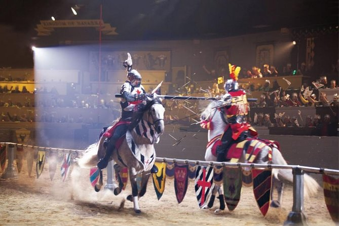 Medieval Times invites you to travel back to the 11th Century. Set within an 11th Century European-style castle that includes interior displays of medieval artifacts, coats of arms from prestigious Spanish families and spectacular shining suits of armor you'll feel as if you're been transported back in time. You'll treated to a one-of-a-kind dinner experience hosted by Queen Maria Isabella that will keep you on the edge of your seat.