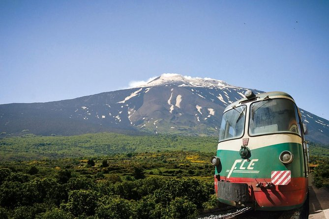 Leave Taormina and ride around Mount Etna by coach and by a 1950s-era train on the Circumetnea Railway (not operative during Summer 2020). This exciting day trip also includes trips to the rock pools and canyons of Alcantara Gorges (entrance own expense) and the foothills of Sicily's vivacious volcano. If you want to see Mount Etna's smouldering upper carters, upgrade to include transport by cable car and jeeps and a walking tour to the summit craters. <br><br>Note that from November 1 to March 31, the tour does not include the train ride nor the optional upgrade to the upper areas. <br><br>A visit of Randazzo town is provided. A minimum number of 12 participants is necessary during winter.