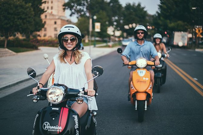 Rate <br> • Full-Day Scooter Rental - $120 per scooter, plus $9 security fee <br><br>About <br> • Boise is best on two wheels. It's an unforgettable adventure! <br> • A great way to spend seeing the whole city <br> • Get a full-day and return your scooter by the end of the day! <br><br>What to Bring <br> • Each rider must bring a valid driver's license <br> • Eye protection, such as sunglasses <br> • Remember to wear closed-toe shoes <br><br>We Provide <br> • Helmets FREE with rental <br> • Free instruction for new riders. We'll make sure you are comfortable and feel safe on your scooter before heading out!