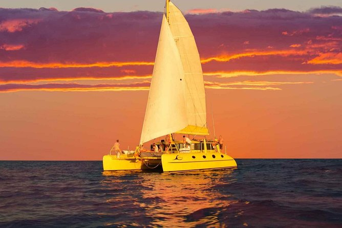 Charter 1 is the famous yellow catamaran everybody knows and loves. She's impossible to miss and hugely popular for taking guests on magical ocean sunset sails on Thursday to Sunday evenings (season dependent).<br><br>Watch Fremantle, the Port and Harbour come alive with a kaleidoscope of colours. <br><br>You may even be joined by a pod of dolphins or see humpback whales and their calves as they migrate down the coast from Sept – Nov. An ocean facing sunset in Perth is an experience you'll remember forever. <br><br>'Capella' is a luxury appointed 12.5m Schionning sailing catamaran custom built for tours and charting. She is noted for her stable ride and huge deck space at nearly twice the width of a single hull vessel, meaning plenty of spaces to sit and relax as you watch the day turn into night and the stars come out to shine. <br><br>Time of departure varies by time of year due to differences in sunset times - please check at the time of booking.