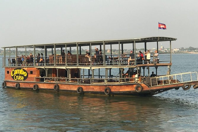 On this 2-hour Sunset Dinner Cruise, enjoy the sunset, listen to live traditional Khmer music, coast past floating villages, see the Royal Palace, and see Phnom Penh skyline from a different perspective. You'll also enter the point where the Tonle Sap, Mekong, and Bassac rivers meet. Our Khmer and Western all-you-can-eat BBQ buffet is prepared on the boat using fresh, local, organic ingredients, with no chemicals or MSG; while offering vegetarian and vegan options. Full bar, cocktails, coffee, and a la carte menu is also available for purchase.<br><br>BBQ Buffet Menu items will include:<br>• Fresh Fruit • Fresh Vegetable Spring Rolls with peanut sauce<br>• Fresh mixed salad with balsamic vinaigrette • Fried mixed vegetables • Stir-fried rice with vegetables • Teriyaki Chicken<br>• BBQ Pork • White Ocean Fish.<br><br>Vegetarian, Vegan and Halal options available.