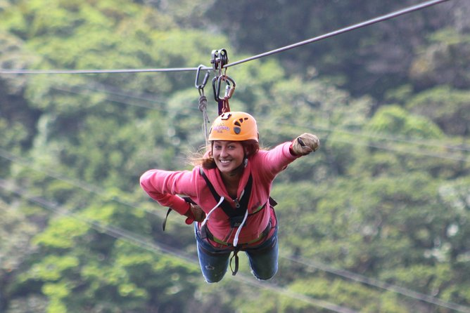 Visit 100% Aventura adventure park with round-trip hotel transfer from Monteverde during this 3-hour experience in the Costa Rican rainforest. This combo canopy tour includes the park's most popular attractions: zipline course (10 cables), the Superman (two cables), rope bridge, rappel, buggy ride, and, last but certainly not least, the Mega Tarzan Swing. Select a morning or afternoon departure time when booking.