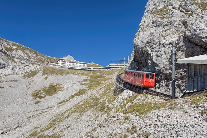 "The ""Golden Round Trip"" — a popular route for tourists — involves taking a boat from Lucerne across Lake Lucerne to Alpnachstad, going up on the cogwheel railway, coming down on the aerial cableways and panorama gondolas, and taking a bus back to Lucerne with your private tourguide. <br><br>Mount Pilatus is a mountain massiv with several peaks, overlooking Lucerne. The top can be reached with the Pilatus Railway, the world's steepest cogwheel railway, from Alpnachstad, operating from May to November (depending on snow conditions) and the whole year with the aerial panorama gondolas and aerial cableways from Kriens."
