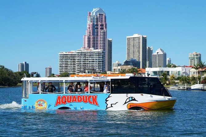 1 hour Aquaduck city and river tour. Departing from the heart of Surfers Paradise, tours aboard the amphibious 'Aquaduck' combine an informative city-tour with a unique and exciting river-cruise. Travelling past the glitzy waterfront mansions of the rich and famous and taking in the spectacular views of the Gold Coast waterways and its famous landmarks.<br><br>Please note you are unable to book on this site within 48hrs of travel. Please contact us if you wish to book within this timeframe.<br><br>New on-board audio guide available in 7 languages.<br>Chinese, French, German, Italian, Japanese, Spanish and Korean.<br><br>Guests access this using their own wifi enabled device, via wifi provided on board by us. They need to use their headphones, or they can purchase from our reception (check Exclusions).<br>Once connected, they will be prompted along the tour to select the appropriate track to hear the commentary translation.