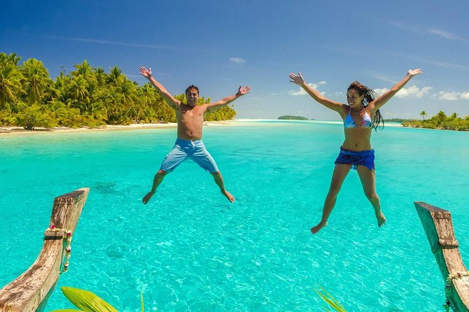"""The 'must do' lagoon cruise. Cruise Aitutaki's magnificent lagoon aboard the 21 meter Polynesian style canoe """"Vaka Titi ai Tonga"""" with stops on different islands including a longer stop at the famous One Foot Island. Spend some time far from the hustle and bustle cruising aboard our Vaka on one of the world's most beautiful lagoons. Soak up the sun and the peace and amazing views of the lagoon and soft bright white beaches, pristine natureat it's best! Includes BBQ Lunch, water, tea and coffee, transfers, towels and snorkeling gear."""