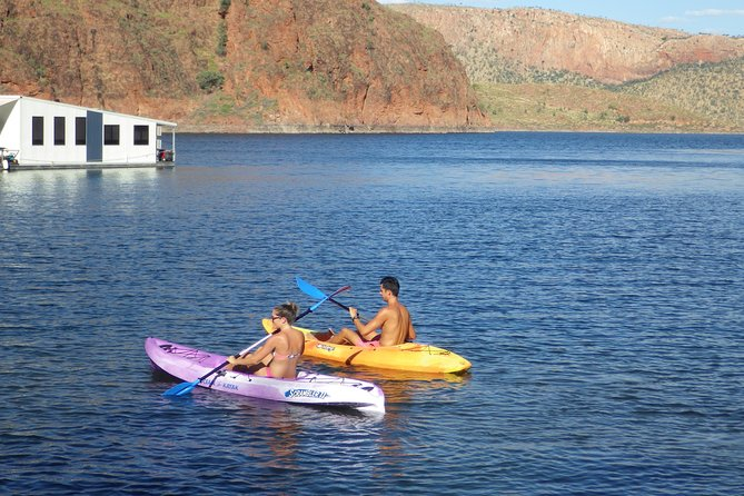 Explore the lake at your own pace when you hire one of our watercraft. Young or old; fit or not-so-fit; complete beginner or advanced - the calm water of Lake Argyle is the ultimate place to canoe, kayak or SUP. We are happy to give you a few tips to get you started, then take to the water and away you go!