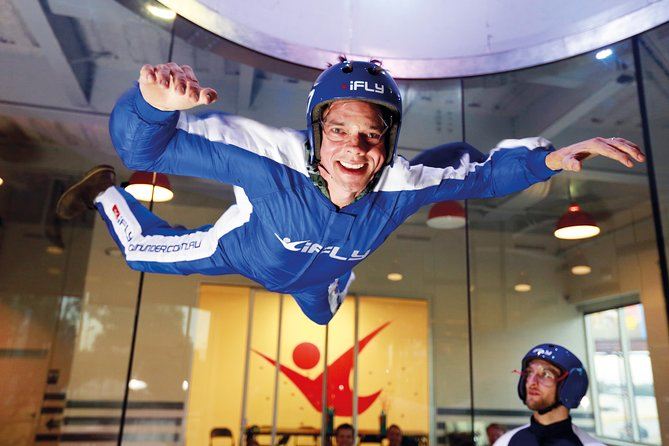 Arrive at iFLY Basingstoke and safely float in an 800-horsepower vertical wind tunnel that generates a wall-to-wall cushion of air commonly used by professional skydivers without having to jump from a plane. Just about anyone can fly and no experience is necessary.<br><br>Once inside the flight chamber, a tunnel operator slowly increases the wind speed until you and your instructor are airborne. Feel the adrenaline rush as you float at wind speeds reaching 130 to 175 mph (209 to 282 kph). The stable wall-to-wall airflow keeps you from falling off the column of air and your instructor is on hand at all times to guide you.<br><br>The entire indoor skydiving experience takes about 90 minutes from start to finish. Each session includes up to 6 people, but you fly one-on-one with your instructor twice - the same freefall time as three tandem skydives!
