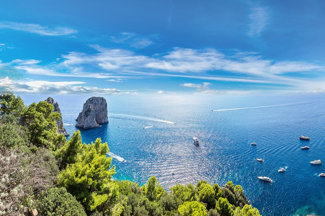 Visit the chic island of Capri on a day trip from Rome, led by an expert local guide! After traveling from Rome to Naples, cross over to the gorgeous island to see its highlights. Hop aboard a boat to the Blue Grotto if you wish, and enjoy a relaxing lunch in the hilltop village of Anacapri. Explore Capri's main town at leisure, and then leave the island for your journey back to Rome.