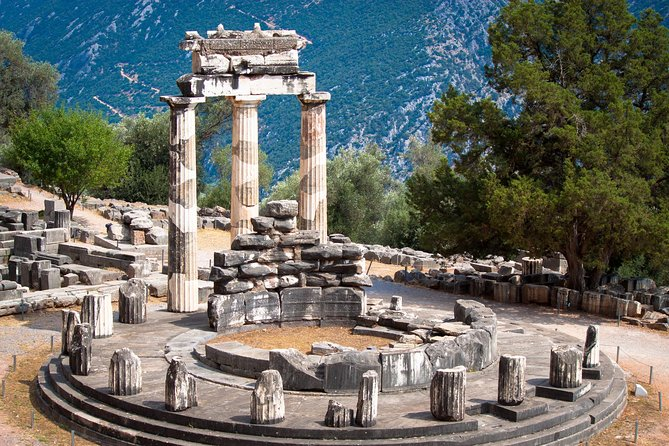 """The center of the world, the """"Navel of the Earth"""", famed Delphi. Delphi is perhaps the country's most important tourist destination after the Acropolis of Athens and also was a continual dominating force from the 7th century BC until its operations were suspended and the site was subsequently closed in 394 AD, having in that time succeeded in becoming the epicenter of the ancient Greek world and that of all of the eastern Mediterranean.<br><br>Within the site, visitors can also admire the ancient theater, where musical competitions, celebrations and ceremonies were staged; the ancient stadium, one of antiquity's best preserved monuments, where the Pythian Games were held; the ancient gymnasium, used as a training ground for athletes; the Archaeological Museum with its exquisite bronze statue of the """"Charioteer"""", as well as the contemporary facilities of the European Cultural Center of Delphi and the Angelos and Eva Sikelianos Museum of Delphic Festivals."""