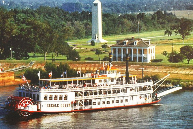 Take a 2 hour, 30 minute cruise down the great Mississippi River aboard the Paddlewheeler Creole Queen. Enjoy a narrated tour with a licensed historian describing 300-years of New Orleans history; from the founding of the city by the LeMoyne Brothers to the tragedy of Hurricane Katrina. During your cruise the vessel will dock at Chalmette Battlefield for a 1-hour excursion. Enjoy a guided tour and talk by a National Park Ranger about the battle of New Orleans, while taking in the sweet breeze and delicate waves along the river. Delight in a cash bar and/or a satisfying Creole lunch option available on the boat while viewing the famous French Quarter and Port of New Orleans from the river .