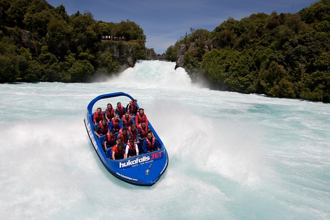Hold on tight on an exciting 30-minute jet-boat ride on the Waikato River! Spinning and speeding your way to Huka Falls, New Zealand's most spectacular falls, see the country's beauty rapidly unfold as you zip past rugged cliffs and native bush.