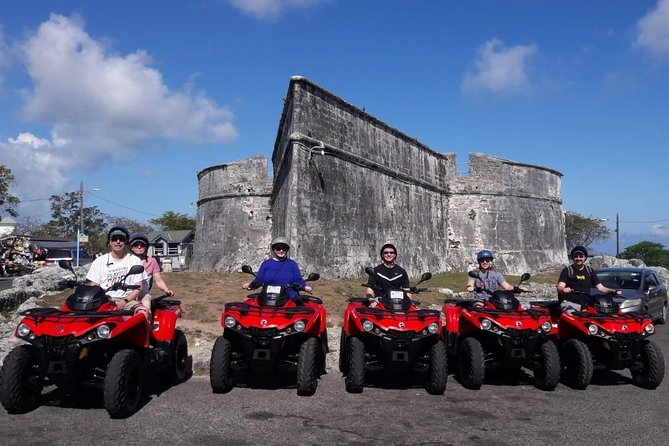 """This 3 hour guided ATV Tour on your very own beautifully maintained 2018 Can-Am Outlander 450 model, takes you to our Island most popular sights and monuments in Grand Vacation Style. Comfortably cruise along our beautiful coastline taking in the sights with the cool Island breeze blowing on your face. Splash around on a beach so beautiful that you can see your toes and sea shells in the sand while looking thru the clear water! Don't be fooled by our competitors that charge """"BIG MONEY"""" for their tours only to give you (1) bottle water and cheap appetizers (What a RIP OFF)! Our guests receive refreshments, Full Lunch and to celebrate after your tour enjoy """"Free"""" Bahama Mamas & Bahama Papas from the local daiquiri bar (The Bahama Mama Factory) located at the cruise port. Now that's outstanding Value!!!!"""