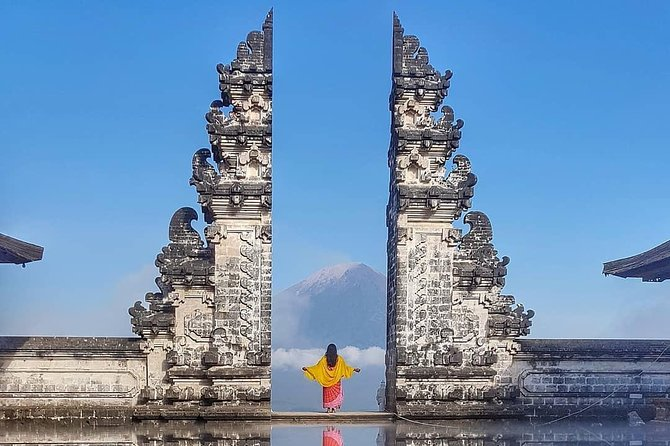 Gates of Heaven at Pura Lempuyang (Pura Luhur Lempuyang Bali), is also called 'The Temple of Thousand Steps' is located at the summit of Belibis Hill (Mount Lempuyang), 1.058 meters above sea level, northeast of Mount Agung, Abang District, Karangasem Regency<br><br>It is not documented when Lempuyang Temple was exactly built. Legends say that when mother earth was only 70 years old, the island of Bali was unstable and earthquakes happened daily. The god Pacupati, who resides in Mount Sumeru saw this condition and asked his three children to stabilize Bali. He sent Hyang Gni Jaya, Hyang Putra Jaya and Dewi Danu to Bali to reside in three different places; Dewi Danu on Mount Batur, Hyang Putra Jaya on Mount Agung, and Hyang Gni Jaya in Lempuyang Luhur Temple.<br><br>Additional Tours  <br> • Tirta Gangga Royal Water Garden <br> • Tenganan village (bali aga)