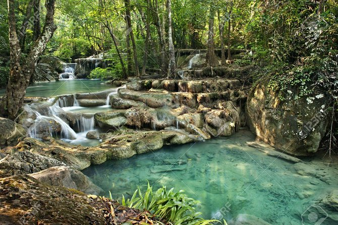 With its natural beauty, Erawan ranks the first top of Kanchanaburi waterfalls and has drawn thousands of visitors each year. This full-day trip is excellent for those who want to have a relaxed short break in the peaceful and natural surroundings closed to the town. The great combination of history and nature explore includes a visit to Hellfire Pass Memorial.