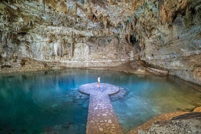 In the way to Valladolid we will stop at Suytun sinkhole (cenote). <br><br>Cenotes are wonders of nature found only in the Yucatán Peninsula. <br><br>Cenotes are like portals to a different world. <br><br>To the ancient Maya, cenotes were passageways to the underground world, were also associated with the rain god Chaac, and sometimes used for sacrificial offerings.<br><br>Cenote Zaci is in the heart of Valladolid, is one of the biggest cenotes in the Yucatan peninsula. This is a semi-open cenote, like a lake. You will get refreshed in its turquoise waters. <br><br>Cenote Suytun is a unique cave cenote and it has one spark of light coming down the middle. Birds and silence you will hear. Enjoy this magical place.<br><br>Valladolid is the perfect city where you can see the mix of cultures (Spanish & Maya). It was the second city built by Spanish colonizers.<br><br>Valladolid is a perfect place to appreciate the historical fusion of cultures and of course, to enjoy the delicious local cuisine of Yucatan that many restaurants offer.<br>
