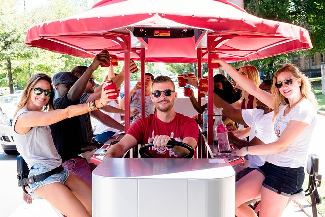 Check out the best Durham has to offer on this two-hour pedal powered pub crawl. You'll stop by some of the hottest spots in Downtown Durham on our mobile bar on wheels. Tours are BYOB with our on-board cooler and you can play your own music.<br><br>The tour is the most fun way to experience the city and our trained guides help have a blast.