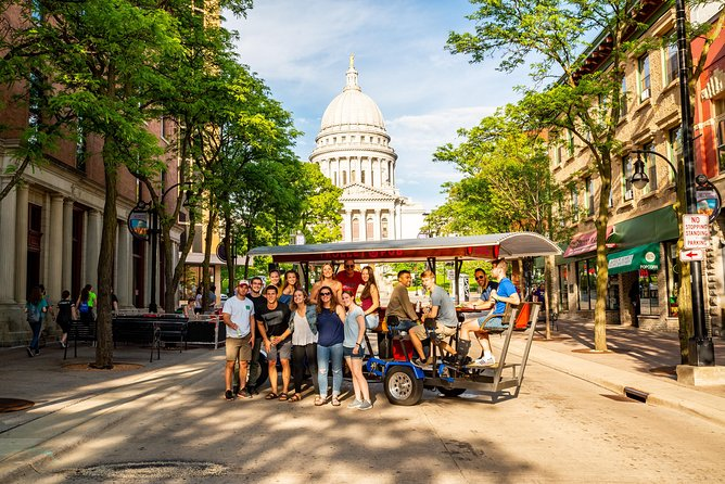 Check out the best Madison has to offer on this two-hour pedal powered pub crawl. You'll stop by some of the hottest spots in Downtown Madison on our mobile bar on wheels. Tours are BYOB with our on-board cooler and you can play your own music.<br><br>The tour is the most fun way to experience the city and our trained guides help have a blast.