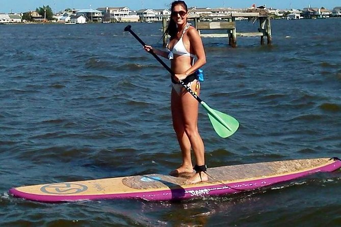 Explore beautiful Rehoboth Bay by paddleboard on this guided excursion!Enjoy excellent scenic views as you test your paddling skills on the water. This tour launches at 8:30. We also have 10:15 a.m. and 12 p.m. launch times available. Please arrive 15 minutes early. No restrooms on site.
