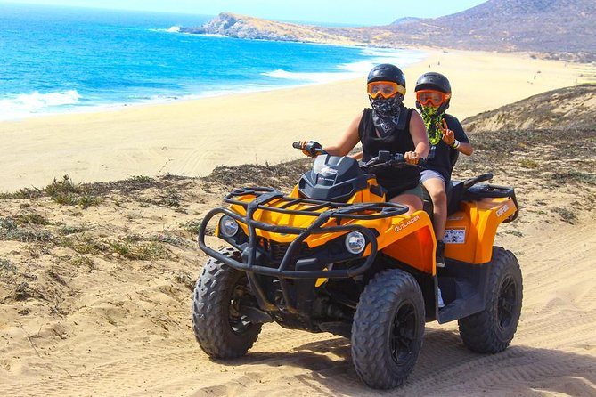 You'll be taken aback by the stark contrast between the arid desert and the beautiful white sand beach and the ocean beyond. Enjoy an ATV adventure in Cabo San Lucas and heading to Margaritas Beach. Pass through canyons and mountains and make this an unforgettable experience.