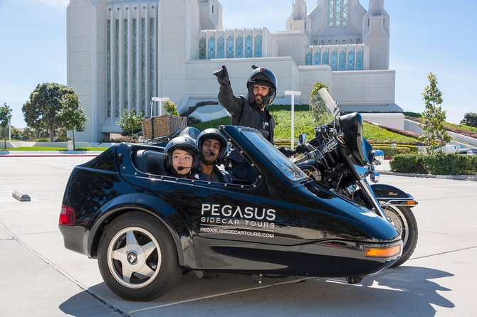 "Join us for a unique, private adventure of La Jolla, with a guided tour in a motorcycle sidecar! Learn about the past & present of ""the Jewel"", cruising the coast lazily in style! <br><br>It's safe, it's fun, & it's an unforgettable experience of a lifetime!<br><br>With Pegasus Sidecar Tours, your private driver and guide will take you on a tour around the beautiful La Jolla area in our top-of-the-line 3-person sidecar rigs. This means 2 passengers can sit in the sidecar, and a third behind your personal driver and guide. Our helmets are equipped with industry leading SENA communication system offering 4-person HD audio connectivity, so you can talk directly with one another & with the guide during the entire tour.<br><br>Pets are also welcome to come along for the ride! There is even a convertible top that can enclose the sidecar in case (by some rare chance in San Diego) it rains.Tours are private & highly customizable. Let's cruise the Golden Coast!"