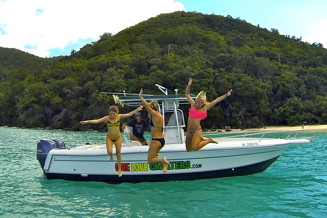 With One Love Charters, it's more about the journey than the destination! Owners Joe and Amanda Trattner are self-proclaimed travelers who moved from the mainland in search of adventure and new opportunity. They learned the local way of life, and the amazing destinations that the British/U.S. Virgin Islands have to offer, and would love to share their expertise with you during your travels. Joe and Amanda are truly passionate about their little chain of islands and want to make sure that by the end of your day with us that you'll have memories to last a lifetime. Come experience a private, customized trip with us!