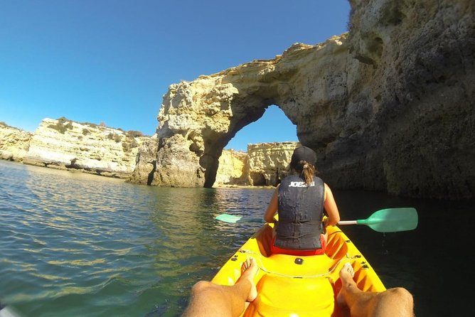 These will be the best memories of your holidays, we promise :)<br><br>This tour is conducted for small groups (maximum 10 people) by an experienced and professional guide.<br><br>Get ready to explore the Algarve Caves and also some others natural treasures hidden along the wonderful Algarve coast.<br><br>During 2 amazing hours, we will enjoy a unique kayak experience, visiting and exploring the nearest caves (about 3 to 4 caves) and some wild beaches with unspeakable beauty, without mass tourism, only you.<br><br>You will see some fish in the crystal clear waters, you will be dazzled by the interior of the caves where you will explore them and rest on the wild beaches.<br><br>Throughout the experience of discovering the caves your guide will explain to you our culture, the name and history of the caves and beaches, and also with the deep deep knowledge of geology of your guide, you will learn about how caves are formed, fossils, and the different layers of aged limestone and maybe we find some hidden treasure :)<br>