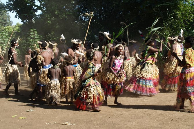 """To fully experience the incredible Tannese culture, the """"Nikinamap Toka Dance"""" captivates you with its vibrant dances and intriguing kastom ceremonies. See first hand dances that celebrate significant dates and seasons in local village life – the harvesting of the yam, traditional circumcision ceremonies, and the famous toka dance which celebrates unity in an island once known for tribal war and cannibalism.<br><br>The Tannese culture is closely linked with our natural environment, so it is fitting that part of our tour includes a guided walk from our village down to Vanuatu's (& possibly the worlds) biggest banyan tree, which has to be seen to be believed! It is the village children's own personal jungle gym and boasts of at least 3 trunks and a canopy expanse filling an entire valley. Here you will wind your way through a network of pathways in and around, up, over and through the giant tree.<br>"""