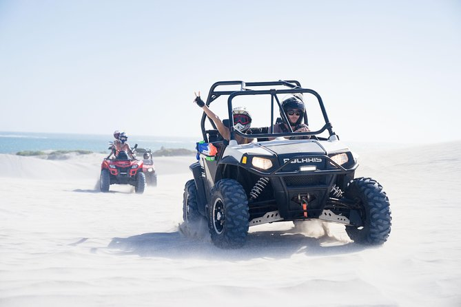 2.5 hours ATV & UTV Adventure Tours<br><br>Sandboarding in Lancelin is a must do for your bucket list, so how about adding 1.30 hours buggy or quad bike ride to this!<br><br>The ultimate adventure that covers all Lancelin Sand dunes accessible by ATV or UTV (quad bike and buggy). For an adrenaline-fueled, blood-pumping experience join us on our 2.5 hours tour to enjoy the ride through the spectacular Lancelin sand dunes and get unlimited time to enjoy the thrill of sliding down the sand dunes.<br><br>Choose from our range of ATV & UTV<br><br>Get your adrenaline pumping nonstop as you ride through the dunes and enjoy the most beautiful beaches of Western Australia.<br><br>With proper preparation and a confident spirit, you can push your riding skills to the limit as you drift around the sand dune negotiate your way in and around the landscape, emerging with lasting memories of you and your mean machine ruling Lancelin Sand Dunes.