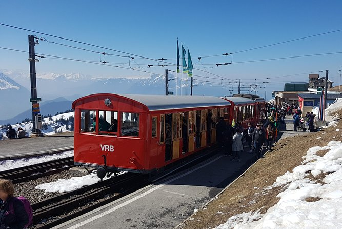 The Rigi (or Mount Rigi; also known as Queen of the Mountains) is a mountain massif of the Alps, located in Central Switzerland. The whole massif is almost entirely surrounded by the water of three different lakes and a stunning view to the alps. The classic round tour from Lucerne starts with a boat ride on lake Lucerne, the coghwheel train to Rigi Kulm and the return travel via Arth-Goldau to Lucerne by train.