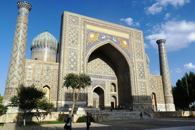 """As the author of an award-winning book about Central Asia, let me take you on a voyage of discovery, exploring Samarkand's rich heritage and unearthing the stories of the people and places of this fascinating land. <br><br>Starting at the dazzling majolica and terracotta tile-covered 9th Century Shah-I-Zinda, the """"Tomb of the Living King,"""" our route proceeds to modern-day Samarkand's major market, the vibrant Siab Bazaar. We'll visit the Bibi-Khanym Mosque, learning about local folklore, history and present-day politics en route to the turquoise domes and tapering minarets of the Registan, the Holy Grail of most visitors to Uzbekistan. This tour also allows for more exploratory detours and the possibility of stops at popular local chaikhanas (tea houses).<br><br>The tour is ready whenever you are and the audio plays automatically at exactly the right time and place using your smartphone's GPS and the VoiceMap mobile app, which also works offline."""