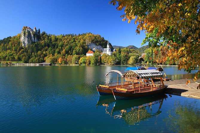 """Departure to Bled, one of the most popular Slovenian tourist places. There we can enjoy the natural beauty and the splendour of its turquoise lake. Optionally you may visit the lake island with the traditional boat Pletna and climb the 99 stone steps to reach the Baroque style Church of the Assumption of Mary. There you can also ring the """"wishing bell"""". The visit of the Bled Castle will reward you with a marvellous panoramic view. This castle from the 12th century also houses the printing museum. It is also an important protocol site for meetings and weddings. We recommend tasting the famous local dessert, Bled cream cake called """"kremšnita"""".<br><br>If the weather conditions allow us, we may visit Blejski Vintgar, the gorge excavated by the Radovna river. We will visit the typical alpine region of Bohinj and enter the Triglav national park in its southeast part. There we will see the biggest glacial lake of Slovenia surrounded by Julian Alps, beautiful forests and its two medieval churches."""