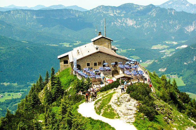 The impressive mountain scenery and the beautiful landscape of the Berchtesgadener Land will definitely fascinate you. Our tour will offer you the opportunity to pay a visit at the NS Documentation Center on Obersalzberg. A special bus and lift then take you up to the Kehlsteinhaus at an altitude of 1,834m where you will be rewarded with spectacular views.<br>Our guide will give a comprehensive summary of the historical events and answer any questions. Afterwards, we will have a short stop in the town of Berchtesgaden.<br>The return journey via the German alpine road shows you the impressive valleys of Bavaria.<br>In the event of bad weather conditions (fog, ice, snow) which make a trip up to the Kehlsteinhaus impossible, we offer the visit of the Berchtesgaden salt mines as an alternative.<br><br>