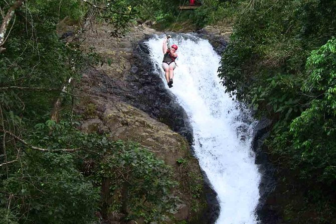 Feel the adrenaline rush of soaring over 11 different waterfalls on this small-group canopy tour at Adventure Park Costa Rica. <br>Enjoy breathtaking views over the ocean, mountains, and rainforest on 25 zipline cables, the longest in Costa Rica. Led by a professional guides, this tour emphasizes safety and provides all the necessary equipment. <br>Transportation to and from this zipline adventure tour is an available option. Participants must be at least six years old and weigh less than 280 pounds (127 KG).