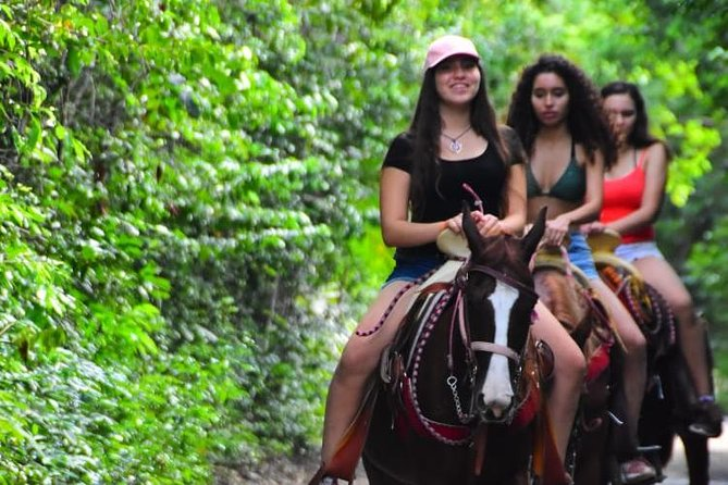 Welcome to one of the most requested activities in Cancun, in this activity you will have the opportunity to ride a horse through a quiet and peaceful path, you knew that horses transmit relaxation to their riders. You can also drive an ATV on an incredible road in the middle of the jungle full of stones, downhills and mud, if you do this activity on a rainy day the adrenaline increases to double. You can also enjoy 6 ziplines through the jungle and hanging bridges, you can fly like a bird and at the end you can cool off in a true Mayan cenote. This activity offers you to live four of the best experiences you can find in Cancun, do not wait any longer and come to fill yourself with energy and fun with this super combo. We offer a secure and super incredible activity.<br>